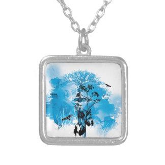 Blue Turquoise Nature Land Tree Bird Design Square Pendant Necklace