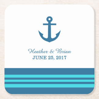 Blue Turquoise Nautical Anchor Paper Coasters