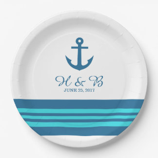 Blue Turquoise Nautical Anchor Paper Plates