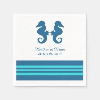 Blue Turquoise Nautical Seahorse Paper Napkins Standard Cocktail Napkin
