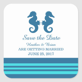 Blue Turquoise Nautical Seahorse Save the Date Square Sticker