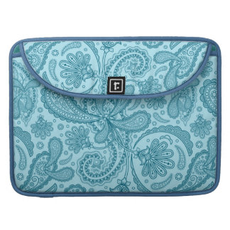 Blue & Turquoise Ornate Pastel Paisley Pattern Sleeve For MacBook Pro