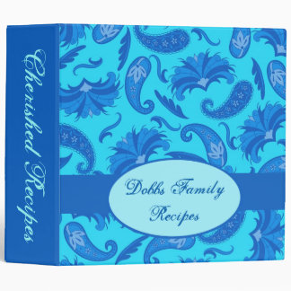 Blue Turquoise Paisley Name Personalized Album Binder