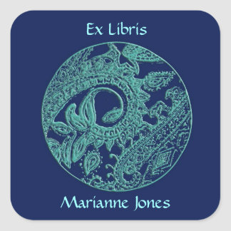 Blue & Turquoise Paisley Relief Bookplate Sticker