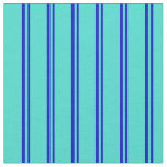 [ Thumbnail: Blue & Turquoise Pattern of Stripes Fabric ]