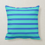 [ Thumbnail: Blue & Turquoise Pattern of Stripes Throw Pillow ]