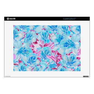 "Blue Turquoise Pink Abstract Flowers 15"" Laptop Skin"