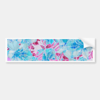 Blue Turquoise Pink Abstract Flowers Bumper Sticker
