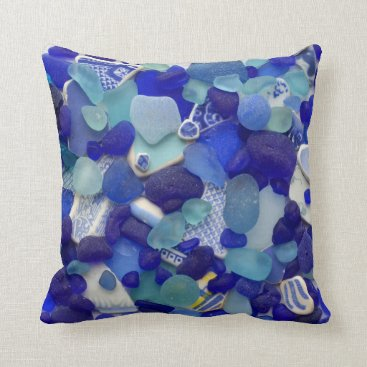 Beach Themed Blue turquoise sea glass beach glass photo square throw pillow