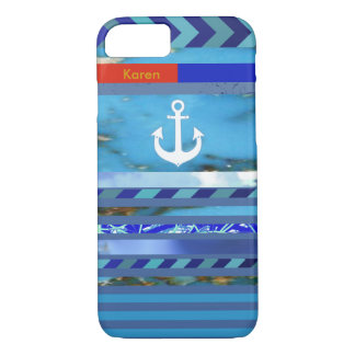 blue turquoise stripes, anchor & name iPhone 8/7 case
