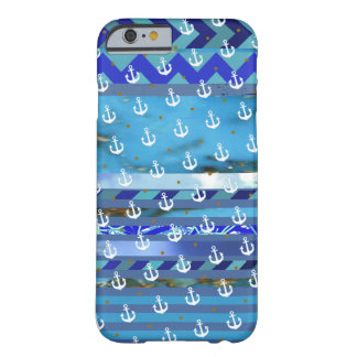 blue turquoise stripes & anchor pattern barely there iPhone 6 case