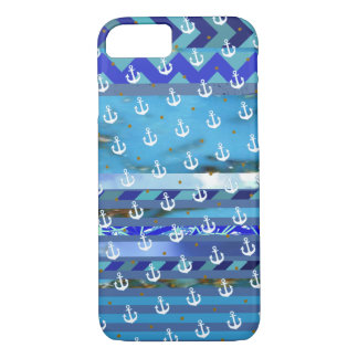 blue turquoise stripes & anchor pattern iPhone 8/7 case