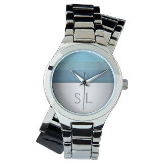 Blue Turquoise Stripes Pattern Monogram Wristwatch