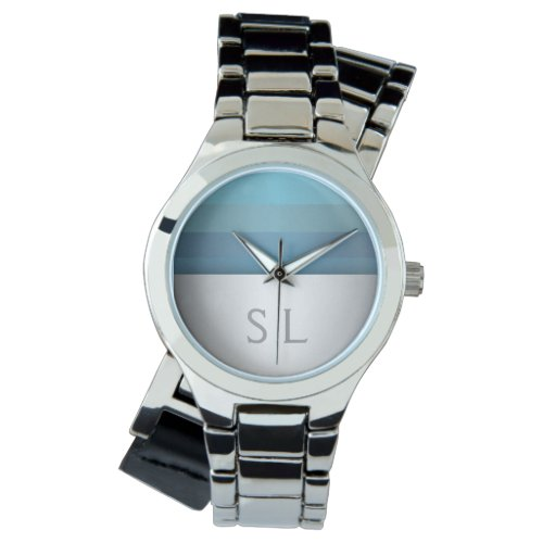 Blue Turquoise Stripes Pattern Monogram Wristwatch