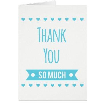 McTiffany Tiffany Aqua Blue Turquoise Thank You Hearts - Wedding Party Card