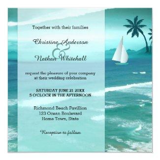 Blue Turquoise Tropical Sailing Wedding Invitation