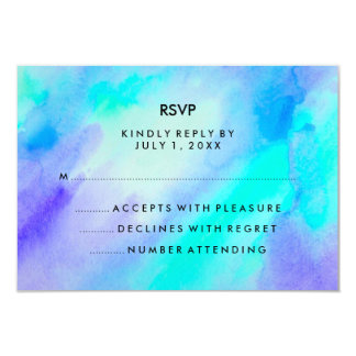 Blue Turquoise Watercolor Look Bat Mitzvah RSVP Card