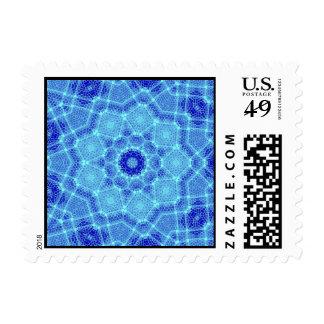 Blue Turquoise Window Rose Mosaic Stamp
