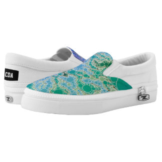 Blue Turquoise Yellow Abstract Printed Shoes
