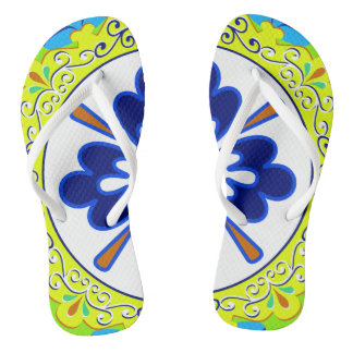 Blue, Turquoise,Yellow and White Plate Flip Flops