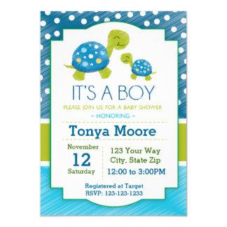 Blue Turtle Baby Shower Invitation