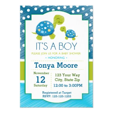 Toddler & Baby themed Blue Turtle Baby Shower Invitation