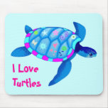 Blue Turtle Mouse Pad