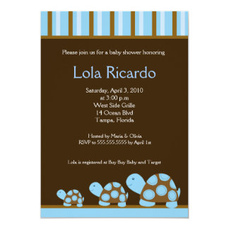 Blue Turtles Striped Baby Shower invite 5 x 7