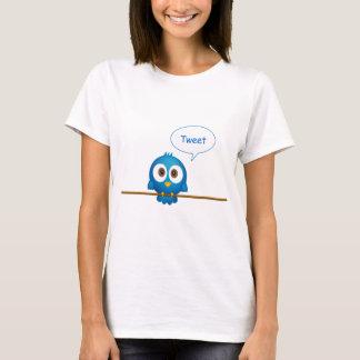 Blue tweeting Twitter bird on shirt for woman