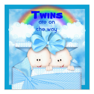 BLUE TWIN  Baby Shower  Invitation