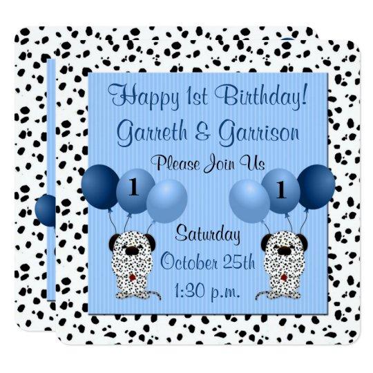 Blue Twin Boys 1st Birthday Party Invitation Zazzle