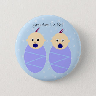Blue Twin Boys Grandmother Button
