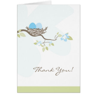 Blue Twin Eggs in Nest Thank You Card
