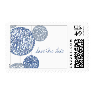Blue Twine Globes Save The Date Stamp