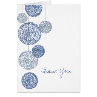 Blue Twine Globes Thank You Card