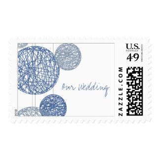 Blue Twine Globes Wedding Postage Stamp