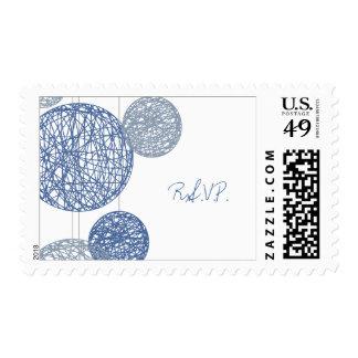 Blue Twine Globes Wedding RSVP Stamp