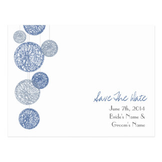 Blue Twine Globes Wedding Save The Date Postcard