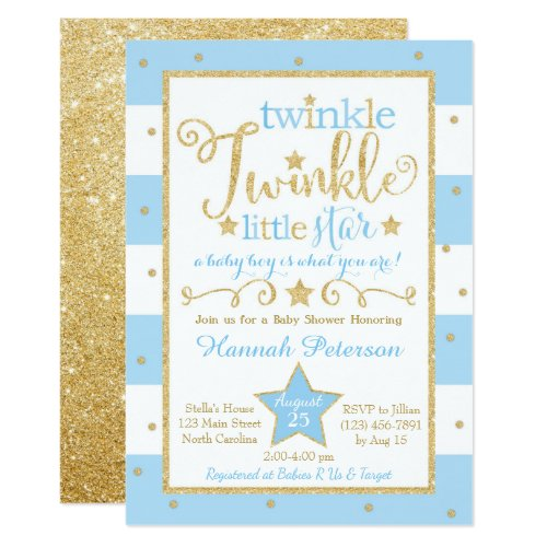 Blue Twinkle Little Star Baby Shower Invitation