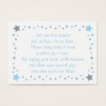 Blue Twinkle Star Baby Shower Book Request Cards