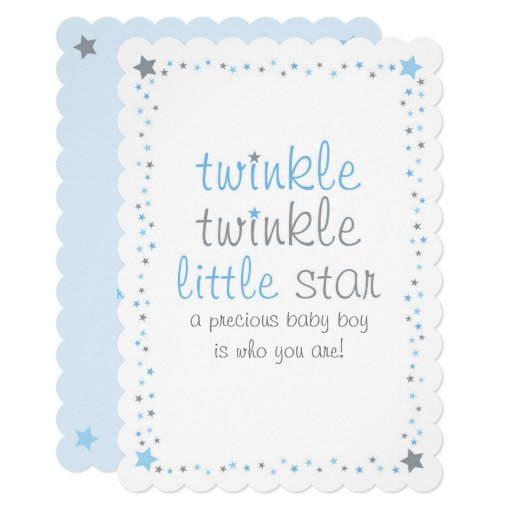 Blue Twinkle Star Baby Shower Card