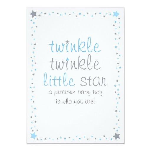 Blue Twinkle Star Baby Shower Invitations Baby Boy