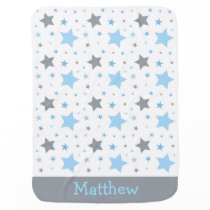 Blue Twinkle Star Personalized Baby Blanket