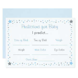 Blue Twinkle Star Predictions For Baby Card