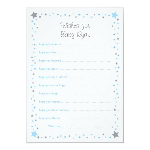 Blue Twinkle Star Wishes for Baby Cards