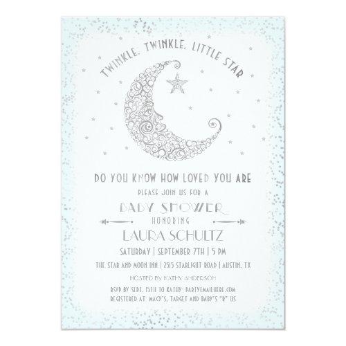 Blue Twinkle Twinkle Little Star Baby Shower Invitation