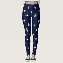 blue twinkles sparkles all over printed leggings