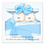 Blue TWINS Baby Shower Invitation or Announcement