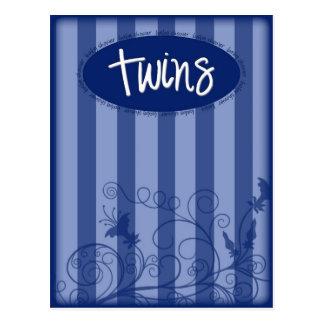 Blue Twins Baby Shower Invitation Postcard