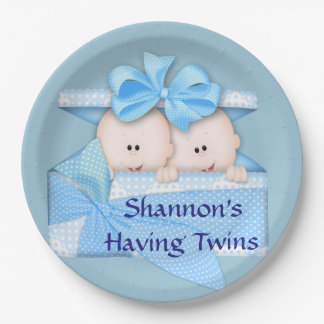Blue Twins Baby Shower Party 9 Inch Paper Plate